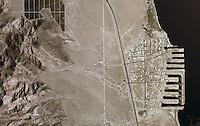 Aerial photograph of Desert Shores, Salton Sea, Riverside County, California