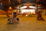 Dance performance inside a traditional big house at Alert Bay on Cormorant Island, the center of culture and art for the Kwakwaka'waka First Nations, Inside Passage, British Columbia, Canada