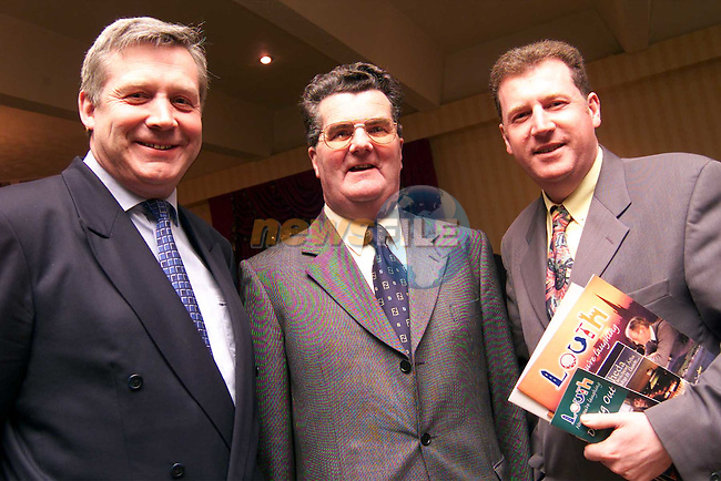 Senator Fergus O'Dowd, Jim Corcoran and Cllr. Malachy Godfrey in the Boyne Valley Hotel for the launch of Peter Bacon's economic report on Drogheda..Picture: Paul Mohan/Newsfile
