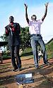 UGANDA BRAILLE BIBLE CASE STUDIES. BONNYFACE (30) AND SANTOS (35) OKELLO. LIRA, UGANDA. PHOTO BY CLARE KENDALL. 25/9/13