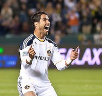 CARSON, CA – May 14, 2011: LA Galaxy forward Juan Pablo Angel (9) celebrates his goal during the match between LA Galaxy and Sporting Kansas City at the Home Depot Center in Carson, California. Final score LA Galaxy 4, Sporting Kansas City 1.