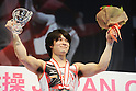 Kohei Uchimura (JPN),JULY 3rd, 2011 - Artistic Gymnastics :Kohei Uchimura of Japan celebrates on the podium with the trophy after winning the Japan Cup 2011 Men's Individual All-Around at Tokyo Metropolitan Gymnasium in Tokyo, Japan. (Photo by AZUL/AFLO)