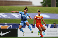 Piscataway, NJ - Saturday May 20, 2017: Raquel Rodriguez, Amber Brooks during a regular season National Women's Soccer League (NWSL) match between Sky Blue FC and the Houston Dash at Yurcak Field.  Sky Blue defeated Houston, 2-1.