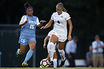 19 August 2016: Central Florida's Carrie Lawrence (4) and North Carolina's Zoe Redei (15). The University of North Carolina Tar Heels hosted the University of Central Florida Knights in a 2016 NCAA Division I Women's Soccer match. UNC won the game 2-0