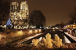 Paris, France , and continental Europe is gripped by heavy snow and arctic conditions in the run up to Christmas December 2010. Transport is just about brought to a standstill, with airports and train stations closed down or running slow. On the other hand Paris is rarely snowbound and as such  is idyllic and remains an attraction to tourists and local Parisiens alike.//Notre Dame Cathedral, a christmas tree and the river seine in the snow at night
