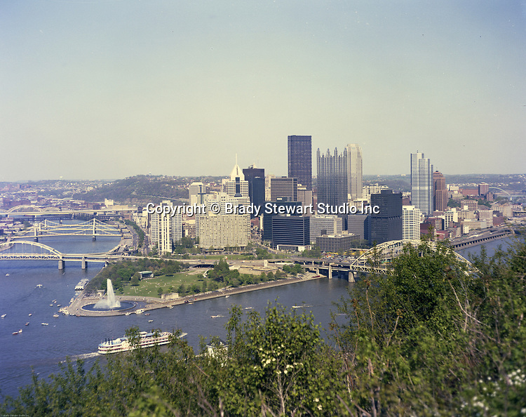 Pittsburgh PA:  Color Photograph of the City of Pittsburgh - 1989.  New buildings added to the skyline; PPG Place, One Oxford Centre, One Mellon Bank Building & Fifth Avenue Place