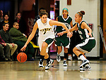 5 December 2009: University of Vermont Catamount guard Tory Dennerlein, a Sophomore from Exeter, RI, in action against the Manhattan College Jaspers at Patrick Gymnasium in Burlington, Vermont. The Catamounts defeated the visiting Jaspers 78-59 to mark the Lady Cats' second home win of the season. Mandatory Credit: Ed Wolfstein Photo