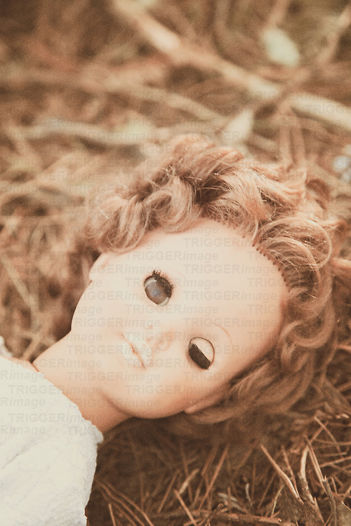 doll lying in a woodland floor, one eye open