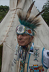 Richard (Duke of Sandy Hook) Simmons, Seneca and Iroquois Native American, dressed in Northern traditional regal.  <br /> <br /> Duke is a living example of the celebration of Native American ethnic pride, culture and heritage, and its traditional folk art crafts. <br /> <br /> Release # 2508