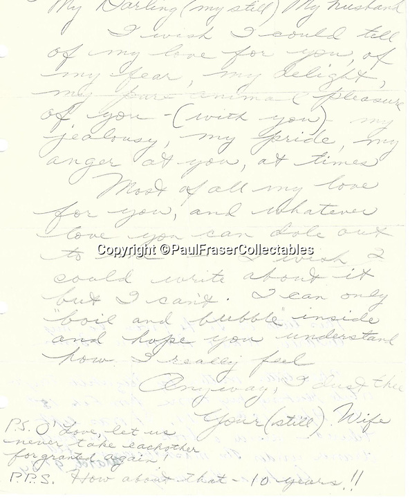 BNPS.co.uk (01202 558833)<br /> Pic: PaulFraserCollectables/BNPS<br /> <br /> *Please use full byline*<br /> <br /> This gushing love letter by Elizabeth Taylor to her philandering husband Richard Burton has emerged to show how the late actress desperately tried to save their doomed marriage right to the end.<br /> <br /> The note, thought to be the only Taylor-Burton love letter ever to become available for public sale, was written by her days before the pair separated and three months before they divorced for the first time.<br /> <br /> Welsh actor Burton had numerous affairs during his 10 year marriage with the his actress wife who finally ran out of patience in 1974 <br /> when he is said to have cheated on her with a waitress.<br /> <br /> But just a few days before they split, Taylor wrote of her anxieties for their marriage.