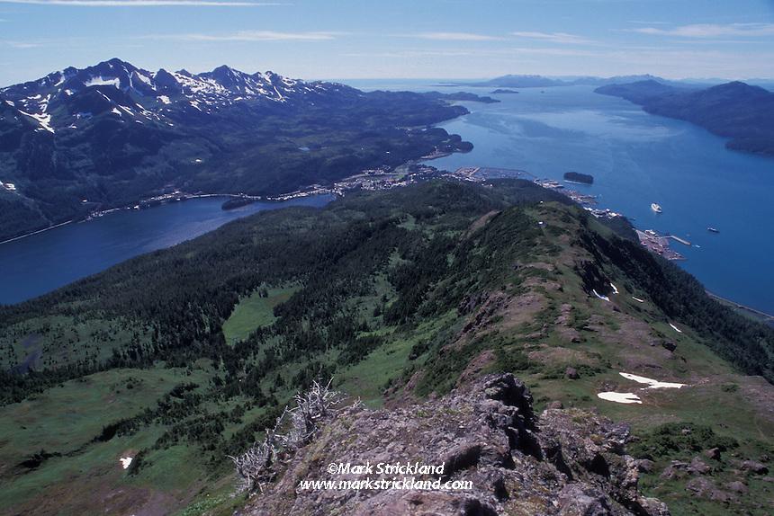 The small fishing town of Cordova, Alaska, seen from atop Mt. Eyak.  Prince William Sound, Cordova, Alaska, USA