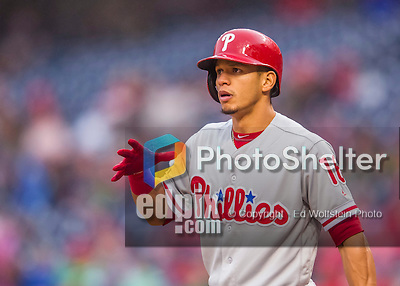 28 April 2016: Philadelphia Phillies second baseman Cesar Hernandez in action against the Washington Nationals at Nationals Park in Washington, DC. The Phillies shut out the Nationals 3-0 to sweep their mid-week, 3-game series. Mandatory Credit: Ed Wolfstein Photo *** RAW (NEF) Image File Available ***
