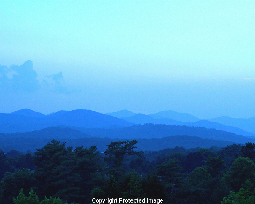 Now we can see why there called the Blue Ridge Montains. I took this picture at the Grove Park Inn, just a few miles from downtown Asheville, NC. I started shooting before the sun set and took countless shots until a short while after sunset - this is my favorite. Hope you like it.