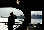 Ferry boat crossing th egolden Horn past St. Sofia in Istanbul