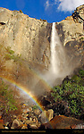 Bridalveil Falls with Spirit Faces and Sunset Rainbow, Yosemite National Park