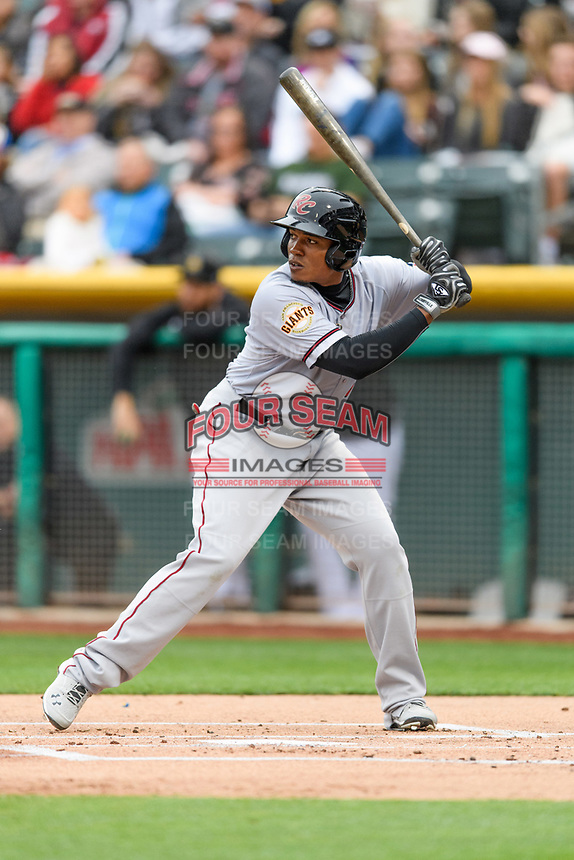 Carlos Moncrief (9) of the Sacramento River Cats at bat against the Salt Lake Bees in Pacific Coast League action at Smith's Ballpark on April 11, 2017 in Salt Lake City, Utah.  The River Cats defeated the Bees 8-7. (Stephen Smith/Four Seam Images)