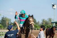 ARCADIA, CA APRIL 8: #3 Battle of Midway ridden by Corey Nakatani in the post parade before the Santa Anita Derby (Grade l) on April 8, 2017 at Santa Anita Park in Arcadia, CA. (Photo by Casey Phillips/Eclipse Sportswire/Getty Images)<br /> ARCADIA, CA APRIL 8: #8 Gormley ridden by Victor Espinoza wins the Santa Anita Derby (Grade l) on April 8, 2017 at Santa Anita Park in Arcadia, CA. (Photo by Casey Phillips/Eclipse Sportswire/Getty Images)