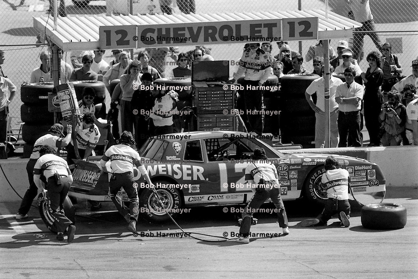 DAYTONA BEACH, FL - FEBRUARY 16: Neil Bonnett makes a pit stop in his Junior Johnson Chevrolet during the Daytona 500 NASCAR Winston Cup race at the Daytona International Speedway in Daytona Beach, Florida, on February 16, 1986.
