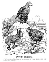 """Autumn Fashions. The Turkey (to the Bulgar Fox, as they enter the Presence). """"It's all right - he's not wearing one himself."""" (Wilhelm II as an eagle with a bald bottom at the end of WW1 as Mehmed V of Turkey and Ferdinand I of Bulgaria look on)"""