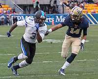 Duke wide receiver Jamison Crowder (3) runs past Pitt defender Avonte Maddox (14) before catching a 45-yard touchdown pass. The Duke Blue Devils defeated the Pitt Panthers 51-48 at Heinz Field, Pittsburgh Pennsylvania on November 1, 2014.
