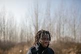 Portrait of Ibrahim outside the Center for Asylum seekers in Krnjaca.