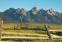 Abandoned corral on Mormon Row with the Teton Range in the background, Grand Teton National Park
