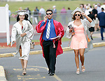 Wolcott, CT- 13 June 2016-061316CM10-  Wolcott High School graduates,  Skyler Ladd, Chris Maisto and Renee Miller meet up with fellow graduates before the start of commencement exercises on Monday.    Christopher Massa Republican-American