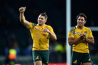 Drew Mitchell of Australia gives a thumbs up to the crowd after the match. Rugby World Cup Semi Final between Argentina v Australia on October 25, 2015 at Twickenham Stadium in London, England. Photo by: Patrick Khachfe / Onside Images