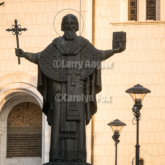 Statue of St. Sava, St. Sava Cathedral, Belgrade, Serbia<br /> <br /> One of the ten largest churches in the world, Temple St. Sava is built on Vračar hill, the location where his remains were burned in 1595 by Ottoman Grand Vizier Sinan Pasha to squelch a Serbian uprising in the 16th century.