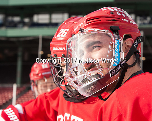Brandon Hickey (BU - 4) - The Boston University Terriers practiced on the rink at Fenway Park on Friday, January 6, 2017.The Boston University Terriers practiced on the rink at Fenway Park on Friday, January 6, 2017.
