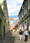 Women Walking in Narrow Street, Old Medieval Hansa Town Tallinn, Estonia
