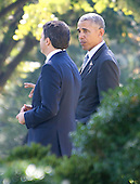 United States President Barack Obama and Prime Minister Matteo Renzi of Italy walk to the Prime Minister's car after holding a joint press conference in the Rose Garden of the the White House in Washington, DC on Tuesday, October 18, 2016. <br /> Credit: Ron Sachs / CNP