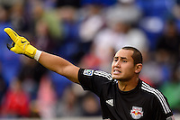 New York Red Bulls goalkeeper Luis Robles (31). The New York Red Bulls defeated FC Dallas 1-0 during a Major League Soccer (MLS) match at Red Bull Arena in Harrison, NJ, on September 22, 2013.
