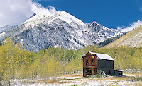 Colorado. Ashcroft ghost town, formally called &quot;Crazy Culver&quot; and &quot;Castle Forks City&quot;  in fall with snow, These United States Book Page 192 Bottom: