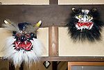 Photo shows Kuro-oni (black ogre) and Japanese Ogre, two of the Iwami-Kagura masks created by Briton Jake Davies at his home in Sakurae Village, Shimane Prefecture, Japan on 28 June 2011..Photographer: Robert Gilhooly
