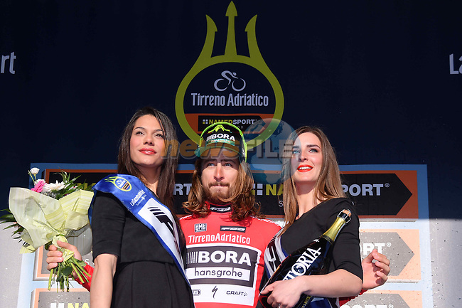 World Champion Peter Sagan (SVK) Bora-Hansgrohe holds onto the Maglia Rossa sprint jersey on the podium at the end of Stage 7 of the 2017 Tirreno Adriatico a 10km Individual Time Trial at San Benedetto del Tronto, Italy. 14th March 2017.<br /> Picture: La Presse/Gian Mattia D'Alberto | Cyclefile<br /> <br /> <br /> All photos usage must carry mandatory copyright credit (&copy; Cyclefile | La Presse)