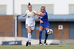 19 August 2016: Wofford's Hayley Younginer (21) and Duke's Schuyler DeBree (19). The Duke University Blue Devils played the Wofford College Terriers in a 2016 NCAA Division I Women's Soccer match. Duke won the game 9-1.