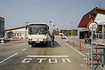 RADIOACTIVITY CHERNOBYL, Exclusion zone. Ukraine. Checkpoint into plant and exclusion zone. Eve of the 20th Anniversary of the fire in reactor 4 at Chernobyl power station in 1986. The fire started in the early hours of the 26th April 1986, The radioactive cloud  dispersed  worldwide. 250 thousand were evacuated. Exclusion zones exist in close vicinity of Chernobyl in Ukraine and Belarus where people will not be able to live for tens of thousands of years.