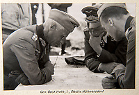 BNPS.co.uk (01202 558833)<br /> Pic: Dickins/BNPS<br /> <br /> Operation Barbarossa - German General Hermann Hoth (left).<br /> <br /> The unseen personal photo album of Field Marshal Wolfram von Richthofen, cousin to the legendary Red Baron, which gives an unprecedented insight into his military career in the Third Reich, has been rediscovered.<br /> <br /> Wolfram served in the Red Baron's squadron in the WW1, went on to design the 'Jericho trumpet' of the infamous Stuka Bomber between the wars, before leading the Condor Legion in the Spanish Civil War.<br /> <br /> After the outbreak of WW2 the fascinating album shows Richthofen's lead roll in Operation Barbarossa - the Nazi's suprise invasion of Communist Russia and their race to conquer the vast country before the onset of the notorious Russian winter.<br /> <br /> The two albums were taken from Berlin by a British soldier at the end of the Second World War who kept it for 60 years before it was passed into the hands of a private collector.<br /> <br /> Dickins auctions are selling the historic albums with a &pound;20,000 estimate on 31st March.