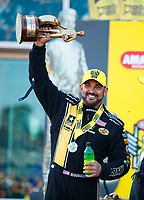 Mar 19, 2017; Gainesville , FL, USA; NHRA top fuel driver Tony Schumacher celebrates after winning the Gatornationals at Gainesville Raceway. Mandatory Credit: Mark J. Rebilas-USA TODAY Sports