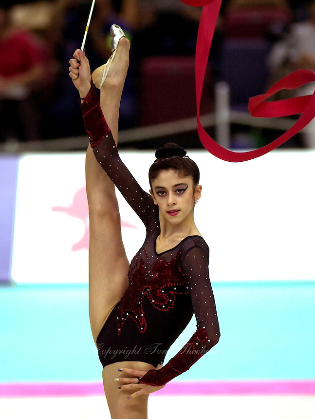 02  OCTOBER 1999 - OSAKA, JAPAN: Inga Tavdishvili of Georgia performs with ribbon at the 1999 World Championships in Osaka, Japan.   Inga placed 21st in the All-Around and was selected as wildcard Olympian to compete at Sydney 2000.