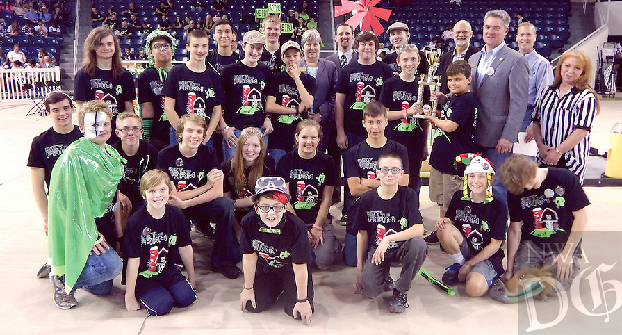 Courtesy photo<br /> Nineteen schools participated in the 2016 River Valley BEST competition Oct. 29 on the University of Arkansas at Fort Smith campus. Ambassadors for Christ of Bentonville (pictured) received first place in the overall robotics competition, in addition to winning the Founders award, the Most Robust award and the IGUS Top Gun award. Additionally, they placed second in the Most Elegant award. Believers Home School received the first place T-shirt award. Chaffin Junior High received the first place Web Design award and the second place BEST award, as well as the second place BEST Spirit and Sportsmanship award. Northside High School received the second place BEST Project Notebook award and Southside High School received the first place Most Photogenic award. Benton County Home School received third place in the overall robotics competition and the second place Most Photogenic award. Ramay Junior High of Fayetteville received the third place BEST award and the second place BEST Exhibit award. <br /> Fulbright Junior High School of Bentonville earned fourth place in the overall robotic competition. Woodland Junior High School of Fayetteville received the second place Web Page Design award. Ambassadors for Christ, Benton County Home School and Ramay Junior High School will advance to Frontier Trails BEST, the regional robotics competition featuring 37 robotics teams competing from nine different hubs. The Frontier Trails BEST Regional Championship will take place Dec. 3 at the Fort Smith Convention Center.