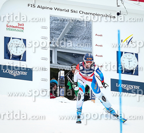 08.02.2013, Planai, Schladming, AUT, FIS Weltmeisterschaften Ski Alpin, Super Kombination, Slalom, Damen, im Bild Dominique Gisin (SUI) // Dominique Gisin of Switzerland  in action during Ladies Super Combined Slalom at the FIS Ski World Championships 2013 at the Planai Course, Schladming, Austria on 2013/02/08. EXPA Pictures © 2013, PhotoCredit: EXPA/ Johann Groder