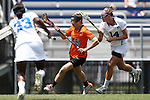 16 May 2015: Princeton's Anya Gersoff (45) is defended by Duke's Taylor Trimble (14) and Gabby Moise (33). The Duke University Blue Devils hosted the Princeton University Tigers at Koskinen Stadium in Durham, North Carolina in a 2015 NCAA Division I Women's Lacrosse Tournament quarterfinal match. Duke won the game 7-3.