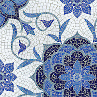 Aurelia, a hand-cut mosaic, shown in Lapis Lazuli, Iolite, Mica, Absolute White, and Blue Spinel Sea Glass™ is part of the Sea Glass™ Collection by Sara Baldwin for New Ravenna.