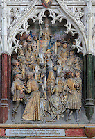 St Firmin preaching to the people of Amiens, Gothic style polychrome high-relief sculpture from the funerary monument of Ferry de Beauvoir, 1490, in the first intercolumniation of the choir screen in the south ambulatory, depicting the life of St Firmin, at the Basilique Cathedrale Notre-Dame d'Amiens or Cathedral Basilica of Our Lady of Amiens, built 1220-70 in Gothic style, Amiens, Picardy, France. St Firmin, 272-303 AD, was the first bishop of Amiens. Amiens Cathedral was listed as a UNESCO World Heritage Site in 1981. Picture by Manuel Cohen