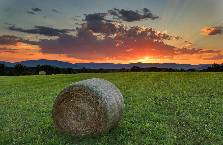 Classic summertime hay bales and sunset in front of the Blue Ridge mountains in Charlottesville, Va. Photo/Andrew Shurtleff