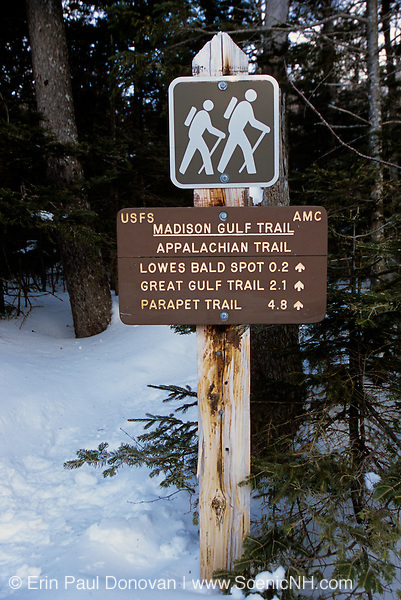 Appalachian Trail - Madison Gulf Trail sign near the Auto Road during the winter months in the White Mountains, New Hampshire USA