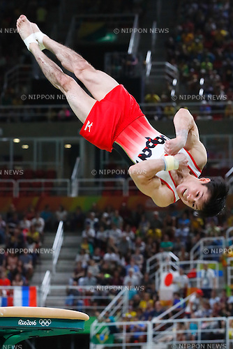 Kohei Uchimura (JPN), <br /> AUGUST 8, 2016 - Artistic Gymnastics : <br /> Men's Final  <br /> Vault   <br /> at Rio Olympic Arena <br /> during the Rio 2016 Olympic Games in Rio de Janeiro, Brazil. <br /> (Photo by Sho Tamura/AFLO SPORT)