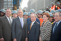 New York Mayor Michael Bloomberg, center, with other dignitaries and politicians at the groundbreaking ceremony for the long anticipated and controversial Hudson Yards project on the West Side of Manhattan in New York on Tuesday, December 4, 2012. The Hudson Yards, built over the LIRR yards, represents the largest real estate development in New York since Rockefeller Center. When finished the 26 acre site will have over 13 million square feet of commercial, residential and retail space. (© Richard B. Levine)